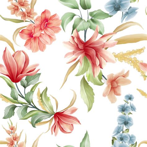 floral seamless pattern  magnolia  orchid flowers