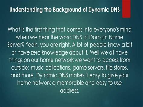 Understanding The Background Of Dynamic Dns Authorstream