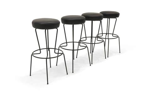 Four Frederic Weinberg Bar Stools, Black Wrought Iron And
