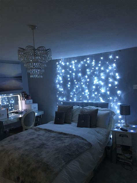 grey bedroom fairy light feature wall and mood lighting