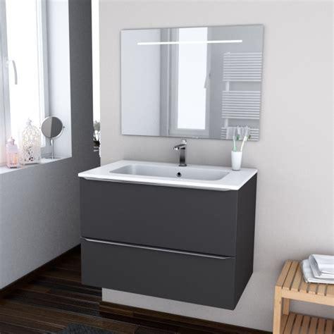 ensemble salle de bains meuble ginko gris plan vasque r 233 sine miroir lumineux l80 5 x h58 5 x p50