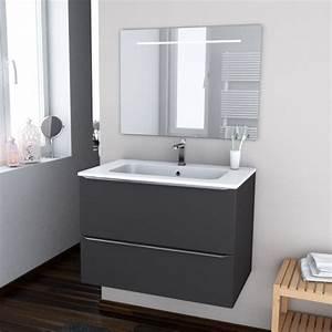 ensemble salle de bains meuble ginko gris plan vasque With meuble miroir salle de bain lumineux