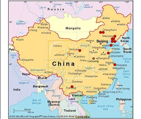 china map  cities  english