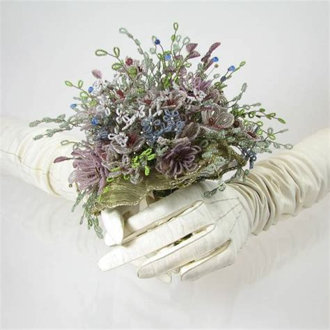 victorian beaded wedding bouquet