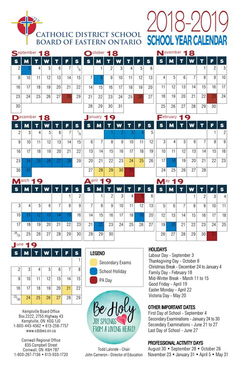 school year calendar catholic district school board eastern