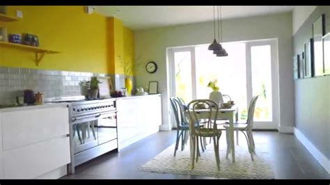 Yellow And Grey Open Plan Kitchen