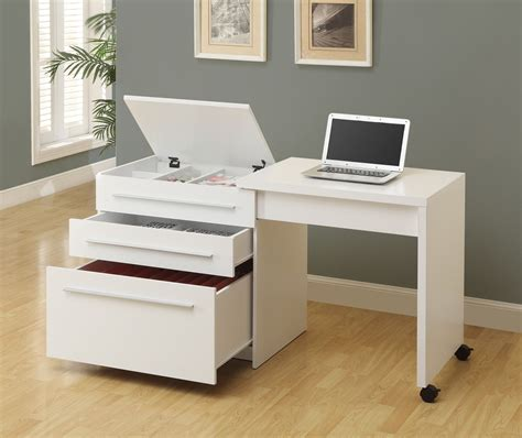 Desk On Wheels With Drawers by Computer Desk White Slide Out With Storage Drawers