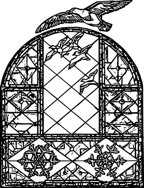 Birds Stained Glass Window Coloring Page