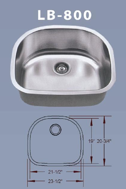 lb 800 bs esi stainless single bowl d shaped undermount