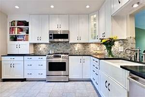 kitchens black granite countertops with white With kitchen colors with white cabinets with black white and red wall art