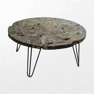 Pied En Fer Forgé : table basse en bois design et son plateau exotique ~ Teatrodelosmanantiales.com Idées de Décoration