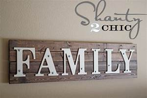 diy wooden family sign shanty 2 chic With family letter sign