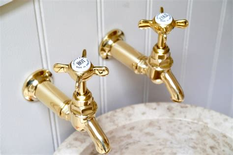 Brushed Brass Kitchen Faucet bib taps wall amp deck chadder amp co