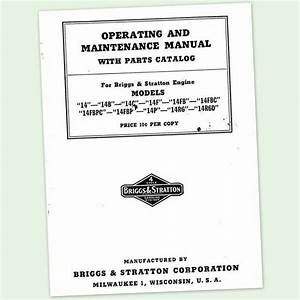Briggs And Stratton 14r6d Operators Owners Service Repair