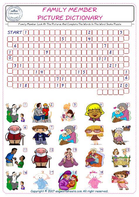 family member esl printable english vocabulary worksheets