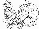 Coloring Basket Fruit Pages Colouring sketch template