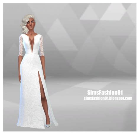 Wedding Dress With Slit at Sims Fashion01 » Sims 4 Updates