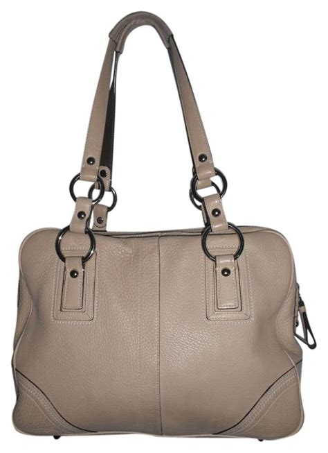 Pebbled Cowhide Leather by Coach Pebbled Satchel 10726 Beige Cowhide Leather Tote