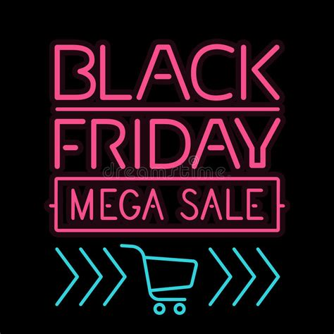 black friday poster glowing light letter on black stock