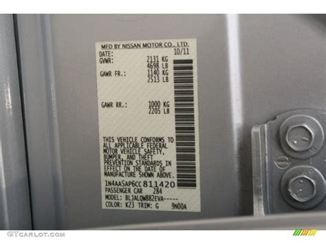 2012 maxima color code k23 for brilliant silver photo