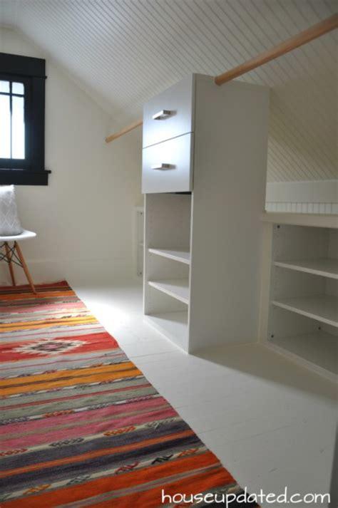 master closet reveal beadboard sloped ceilings kilims