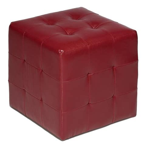 Cube Leather Ottoman by Cortesi Home Braque Faux Leather Cube Ottoman