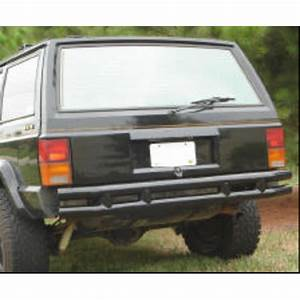 Rugged Ridge Rear Tube Bumper In Gloss Black For 84