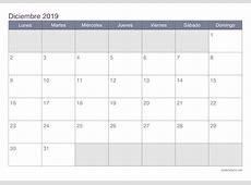 Calendario diciembre 2019 para imprimir iCalendarionet