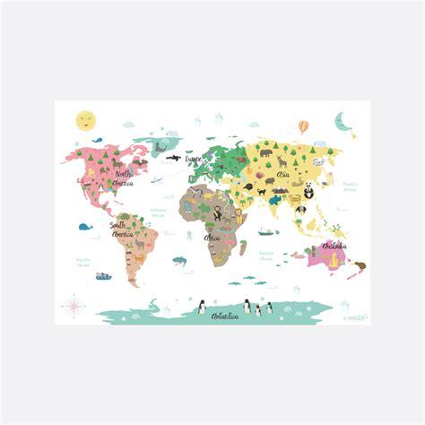 wereldkaart dieren poster wit xcm kinderkamer decoratie