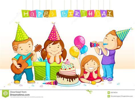 kids celebrating birthday stock vector illustration