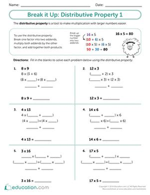 Properties Of Multiplication Distributive  Worksheet Educationcom