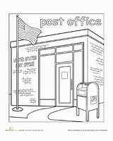 Office Town Coloring Paint Worksheet Pages Education Clipart Preschool Mailman Worksheets Mail Kindergarten Places Community Crafts Drawing Printable Activities Preschoolers sketch template