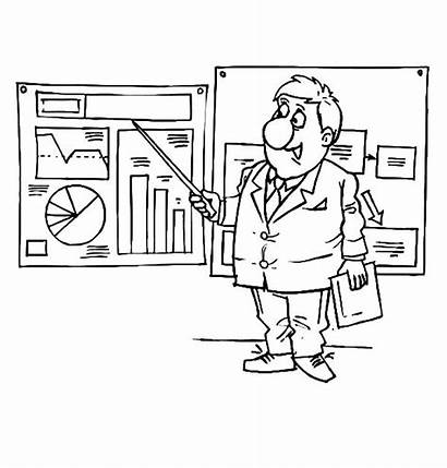 Coloring Businessman Pages Presenting Graphs Charts Business