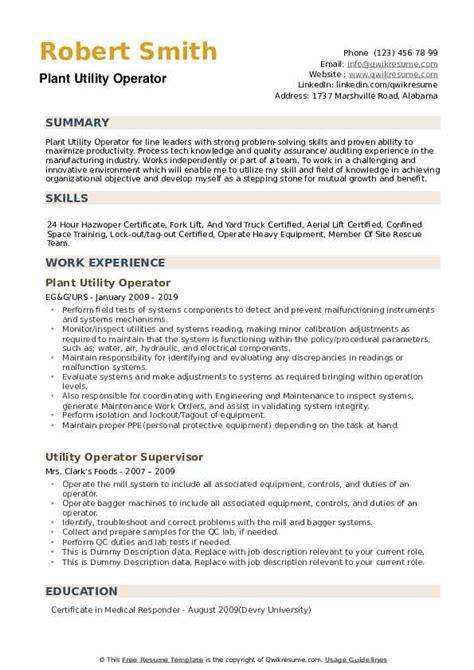 utility operator resume samples qwikresume
