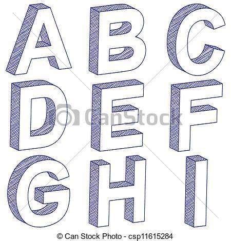 si e e 3 lettres vecteur de a i dessin lettre 3d 3d égratignure