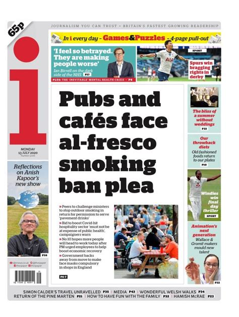 Front Pages 13th of July 2020 - Tomorrow's Papers Today!