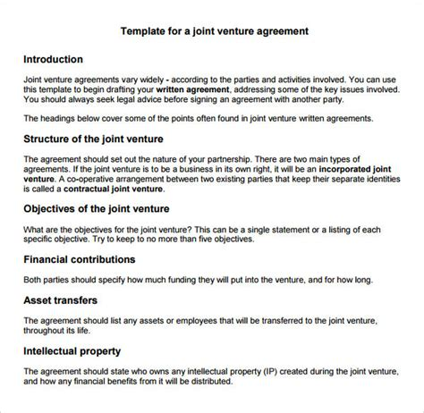 joint venture templates