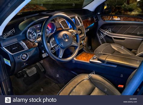 The Interior Of A 2014 Jaguar Xj Saloon At Night Stock
