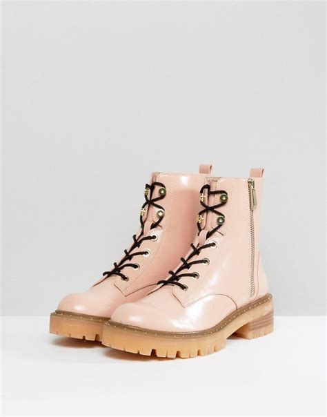 lyst stradivarius lace  ankle boots  pink