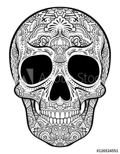 Vector skull graphics with floral ornaments isolated on