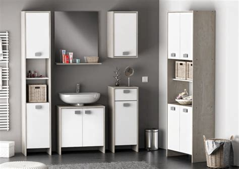 cuisines completes meuble sous lavabo hawai chene chagne blanc