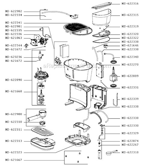 Espresso Maker Schematic by Krups Xp460050 1p1 Parts List And Diagram