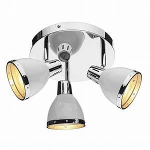 Polar chrome white circular ceiling spotlights