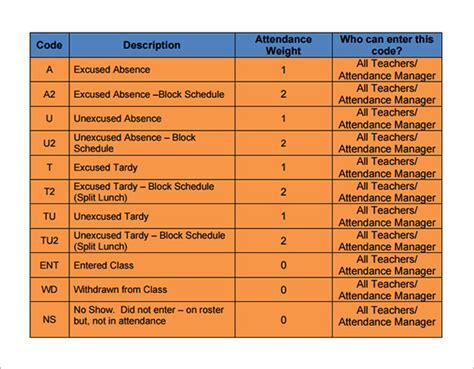 sample attendance tracking