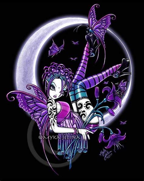 crescent moon fairy art print gothic fae rainbow tattoo paige myka jelina ebay