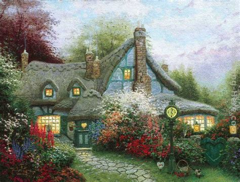 Kinkade Cottage by Kinkade Summer Paintings Kinkade Wallpaper