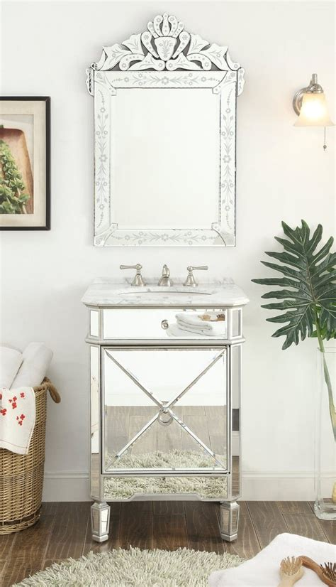 mirror reflection silver asger powder room bathroom