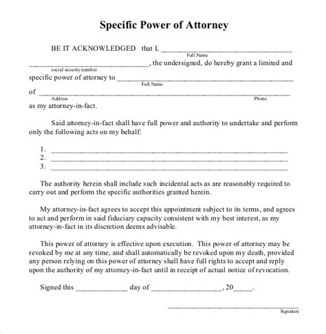 power of attorney templates 10 free word pdf documents free premium templates