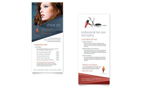hair stylist salon rack card template word publisher