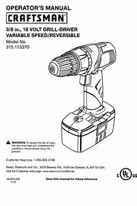 Craftsman 315115370 User Manual 18v Driil Driver Manuals